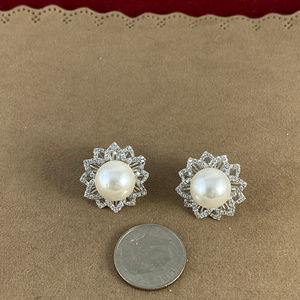 Gem Emporium Jewelry - Fresh Water Pearl & CZ's 925 Silver Post Earrings